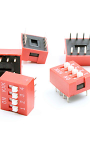 DIY 4-Position 8-Pin 2.54mm Pitch Dip Switches (5Piece Pack)