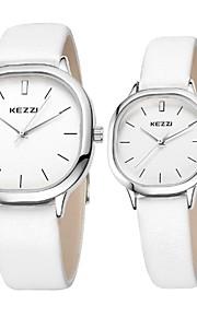 Masculino / Mulheres Relógio de Moda Quartz Impermeável Couro Banda Casual Branco / Marrom marca