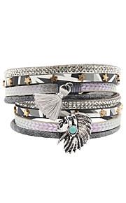 Charm-armbånd / Wrap Armbånd / Læder Armbånd 1pc,Sølv Armbånd Double-layer / Moderigtig / Bohemia StyleLegering / Læder / Akryl /