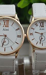 Casal Relógio de Moda Quartz Relógio Casual PU Banda Preta / Branco / Marrom marca