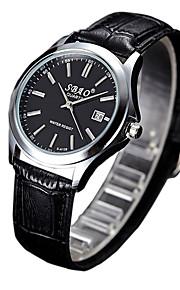 Casal Relógio de Moda Quartz Relógio Casual PU Banda Preta marca