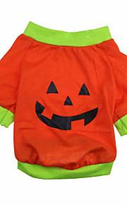 Katte / Hunde Frakker / T恤衫 Grøn / Orange Sommer / Forår/Vinter Halloween Halloween, Dog Clothes / Dog Clothing-Other