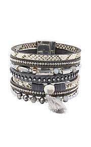 Charm-armbånd / Wrap Armbånd / Læder Armbånd 1pc,Sølv Armbånd Frynsetip(s) / Moderigtig / Bohemia StyleKrystal / Legering / Læder / Akryl