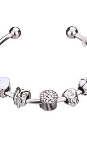 Charm-armbånd / Bangles / Manchetarmbånd / Strand Armbånd / Silver Bracelets 1pc,Pudebetræk / Sort / Hvid / Rød / Grøn / Pink Armbånd
