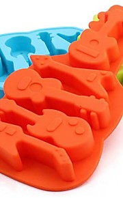 Guitar Cookie Mold Silicone Ice Tray Soap Mold Mould (Random Color)
