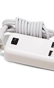 4 porte USB Porte Multi Presa US caricatore domestico con cavo per iPad / per il cellulare / For iPhone5V , 1A / 0.5A)