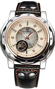 FORSINING Masculino Relógio Esqueleto relógio mecânico Automático - da corda automáticamente Gravação Oca Couro Banda Luxuoso PretaBranco