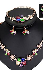 kvinder mode daglig fest flerfarvet farve blok krystal legering halskæde ørestikker ringe kæde armbånd smykker sæt