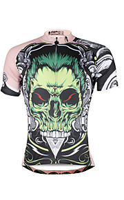 Breathable and Comfortable Paladin Summer Male Short Sleeve Cycling Jerseys DX688 Green skeleton