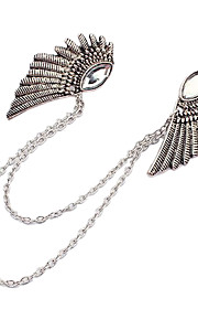 New Gothic Punk Angel Wings Clothes Collar Clip Bronze Silver Chain Brooch Jewellery Pins Brooches For Gift