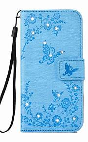 Fullbody Card Holder / lommebok / Strass / med stativ Sommerfugl Kunstlær Hard Tilfelle dekke for AppleiPhone 6s Plus/6 Plus / iPhone