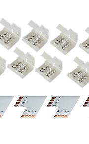 zdm® 4 gruppe 4-pins skjøtekontakt for 10mm 5050 RGB LED stripe lys