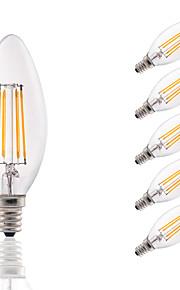 3.5W E12 LED Filament Bulbs B10 COB 350 lm Warm White Dimmable / Decorative AC 110-130 V 6 pcs