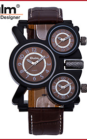 Heren Militair horloge Kwarts Drie tijdzones Echt leer Band Cool Zwart / Bruin Merk