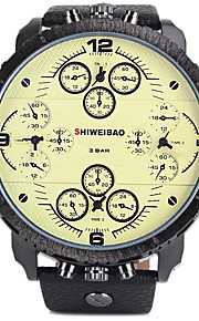 Masculino Relógio Esportivo / Relógio Militar Quartz Calendário / Três Fusos Horários Couro Banda Legal Preta marca