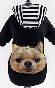 Dog Hoodie / Denim Jacket/Jeans Jacket Black Dog Clothes Winter Stripe Fashion