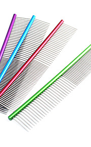 Cat / Dog Grooming Comb Pet Grooming Supplies Stainless Steel Red / Green / Blue / Purple