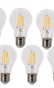 4 E26/E27 Ampoules à Filament LED A60(A19) 4 COB 380 lm Blanc Chaud / Blanc Froid Décorative / Etanches AC 100-240 V 6 pièces