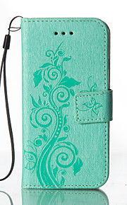 Corpo Completo carteira / Entrada de Cartão / com suporte / Em relevo Flor Couro Ecológico Duro Case Capa Para HTC HTC One M8