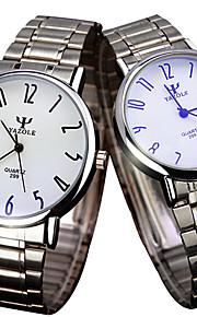 YAZOLE Casal Relógio de Pulso Relógio Casual Quartzo / Aço Inoxidável Banda Legal Casual Prata Branco Preto