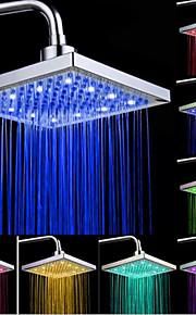 top spray dusjhode med tricolor lysende fargetemperaturen / 8 tommer vann booster toppdusj (abs plating)