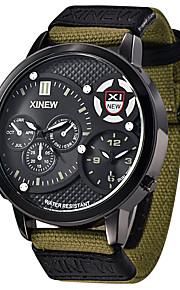 Herren Sportuhr / Militäruhr / Modeuhr / Armbanduhr Japanischer Quartz Kalender / Wasserdicht / Duale Zeitzonen Stoff Band Bettelarmband