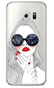 Per retro Ultrasottile / Traslucido sexy Lady TPU Morbido Copertura di caso per Samsung GalaxyS7 edge / S7 / S6 edge plus / S6 edge / S6