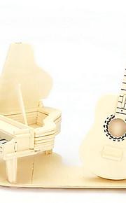 puslespil 3D-puslespil / Træpuslespil Byggesten DIY legetøj Musik Instrumenter Træ Guld Model- og byggelegetøj