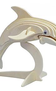 Quebra-cabeças Quebra-Cabeças 3D / Quebra-Cabeças de Madeira Blocos de construção DIY Brinquedos Golfinho Madeira BegeModelo e Blocos de
