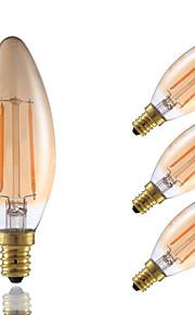 2W E12 LED-glødepærer B 2 COB 160 lm Ravgult Dimbar / Dekorativ V 4 stk.
