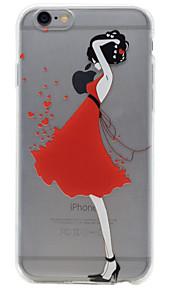 For iPhone 7 etui / iPhone 6 etui / iPhone 5 etui Transparent / Præget / Mønster Etui Bagcover Etui Sexet kvinde Blødt TPU AppleiPhone 7
