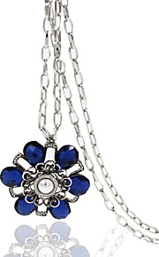 Necklace Crystal Jewelry Wedding / Party / Daily / Casual Flower Style Alloy Silver 1pc Gift