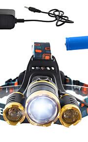 Освещение Налобные фонари LED 3000 Lumens Люмен 4.0 Режим Cree T6 18650 Диммируемая / Перезаряжаемый / Угловой фонарь / Очень легкие