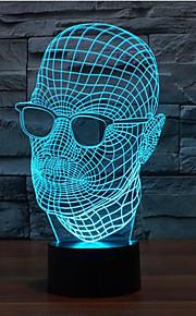 briller mann berørings dimming 3D LED nattlys 7colorful dekorasjon atmosfære lampe nyhet belysning jul lys
