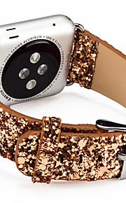 jul skinnende glitter makt PU lær bling luksus watch bandet armbåndsur armbånd stropp belte for Apple Watch 38 / 42mm