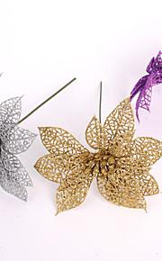 falska konstgjord plast julpynt 15cm urholka julblomma jul blomsterdekoration hängande 6Colors