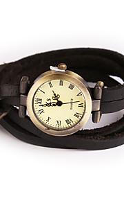 Mulheres Relógio de Moda / Relógio de Pulso / Bracele Relógio Quartz / Couro Banda Vintage / Boêmio / Bracelete / Legal / Casual Preta