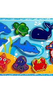 puslespil Pædagogisk legetøj / Puslespil Byggesten DIY legetøj Delfin / Fisk / Blæksprutte / Krokodille 8 Træ Regnbue