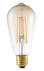 4W E26/E27 LED-glødepærer ST64 4 COB 350 lm Ravgult Dimbar / Dekorativ AC 220-240 V 1 stk.