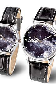 Casal Relógio de Pulso Quartzo Luminoso Fase da lua / Couro Banda Brilhante Pendente Legal Preta Marrom Preto Marron