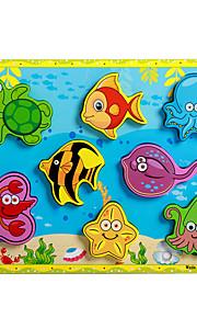puslespil Pædagogisk legetøj / Puslespil Byggesten DIY legetøj Delfin / Fisk / Blæksprutte 8 Træ Regnbue Hobbylegetøj