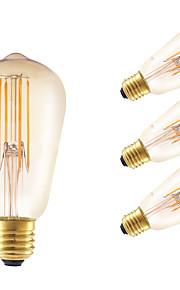 4W E26/E27 LED-glødepærer ST58 4 COB 350 lm Ravgult Dimbar / Dekorativ AC 220-240 V 4 stk.
