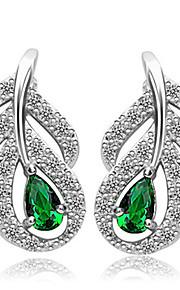 TEEMI Leaf AAA Zircon Earring Diamond Stud Earrings Fine Jewelry Women Wedding / Party Zircon 1 pair Green
