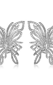 TEEMI Butterfly AAA Zircon Earring Diamond Stud Earrings Fine Jewelry Women Wedding / Party Zircon 1 pair White