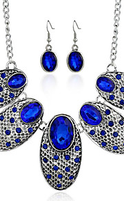 MPL European and American retro personality oval jewel studded Necklace Earrings Set