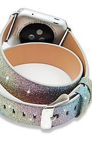 Regenbogen-Weihnachts glänzenden Glitter extra lange Echtlederarmband für 42mm Apfel-Uhrenarmband Doppel Tour Armband Lederband 38mm