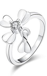 Ringe Kvadratisk Zirconium Daglig Afslappet Smykker Zirkonium Plastik Dame Ring 1 Stk.,7 8 Sølv