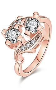 Ringe Kvadratisk Zirconium Daglig Afslappet Smykker Zirkonium Plastik Dame Ring 1 Stk.,7 8 Rose Guld