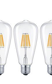 8W E26/E27 Lâmpadas de Filamento de LED ST64 8 COB 800 lm Branco Quente Branco Frio Regulável AC 220-240 AC 110-130 V 3 pçs