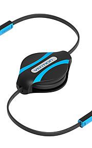 vention® 3,5 mm stereo aux ljud flexibel förlängningskabel infällbar aux musik linje hörlurs aux sladd mp3 cd-spelare